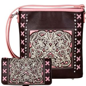 Floral Embroidered Crossbody Wallet Montana West